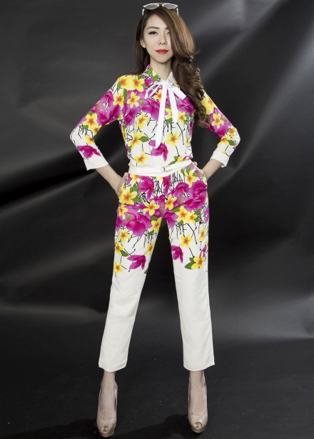 2016 Spring Summer Colorful Floral Printed Women Shirt and Pant Set